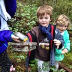 Boy finds a geocache